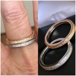 14K Gold Filled Micro Pave Bridal Ring Band Set